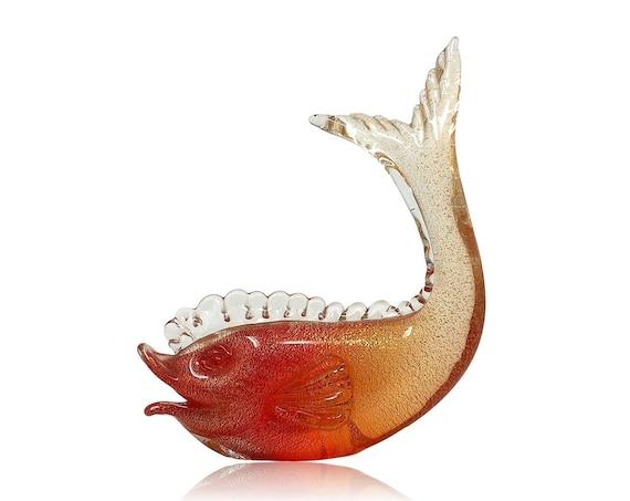 C.1950s Archimede SEGUSO MURANO Orange & Gold Glass Fish Sculpture | Statue | Figurine --Mint, With Partial Label