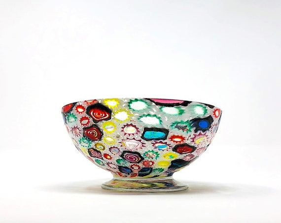 XL C.1960s FRATELLI TOSO Murano Millefiori Glass Bowl | Candy or Trinket Dish - Documented