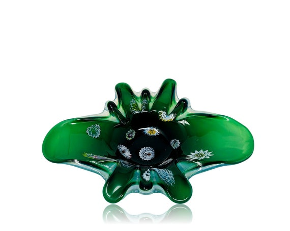 "FRATELLI TOSO Mid-Century MURANO Cased Opalino Glass ""Butterfly"" Biomorphic Dish 