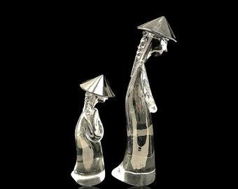 LARGE Crystal Archimede SEGUSO MURANO 'Figure Chinesi' Glass Sculpture Set