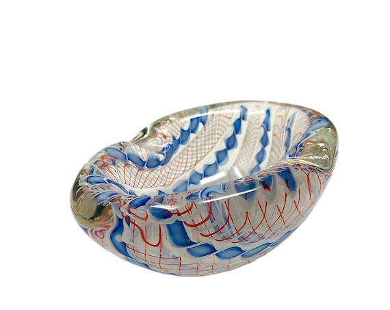 Archimede SEGUSO MURANO Filigrana Sommerso Submerged Glass Bowl | Ashtray | Trinket Dish - PUBLISHED