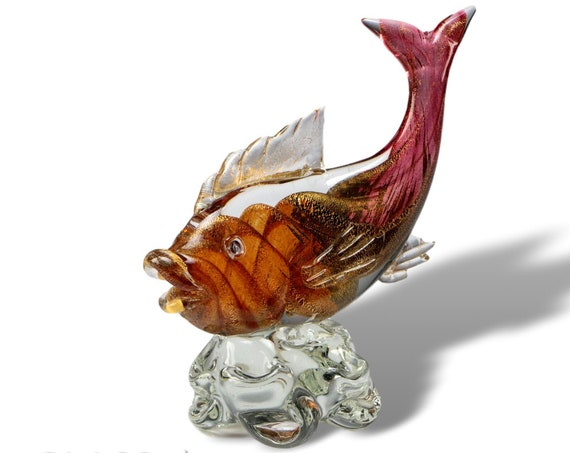BREATHTAKING Rare Aureliano Toso MURANO Cranberry Gold Sommerso Fish