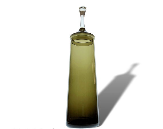 "GORGEOUS Tall 16""+ Mid-Century Smoke Charcoal Empoli   Italy Glass Jar w/Circus Tent Lid"