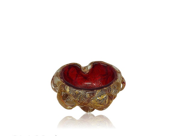 C.1950s Archimede SEGUSO Murano Ruby Gold Aventurine Glass Bowl | Ashtray | Trinket Dish