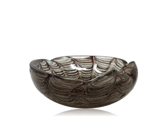 "Dazzling BAROVIER & TOSO ""Graffito"" Cased Sommerso Eggplant and Copper Glass Bowl 
