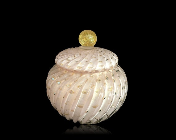 MONUMENTAL MURANO Alfredo BARBINI Gold Aventurine Lattimo Glass Jar | Covered Bowl | Powder - Mint