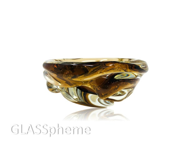 Archimede SEGUSO MURANO Amber Blob Glass Ash Receiver | Bowl | Trinket Dish
