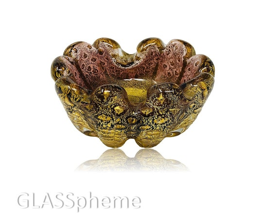 EXQUISITE BAROVIER TOSO Murano Amethyst & Gold Glass Ashtray | Bowl | Ring or Trinket Dish