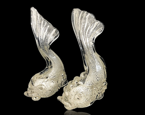 Spectacular Pair Flavio POLI SEGUSO MURANO Crystal Glass Fish Sculptures (Love Fish?)