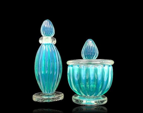 Awe-Inspiring SEGUSO MURANO Opalino Ribbed Glass Vanity Set