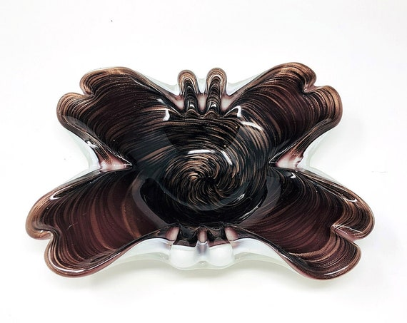 """C1950s FRATELLI TOSO Murano Cased Glass Biomorphic """"Butterfly"""" Dish 