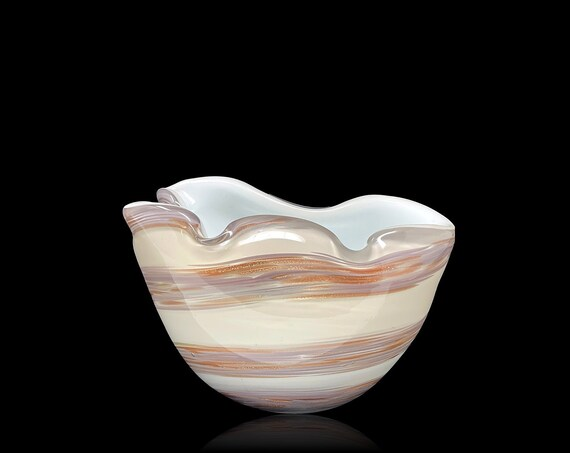 50's FRATELLI TOSO Biomorphic Heavily Cased Glass Bowl | Ashtray | Trinket Dish + Label