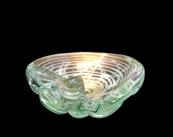 "XL Sublime C.1950s BAROVIER & TOSO Murano ""Graffito"" Gold-Infused Cased Glass Bowl 