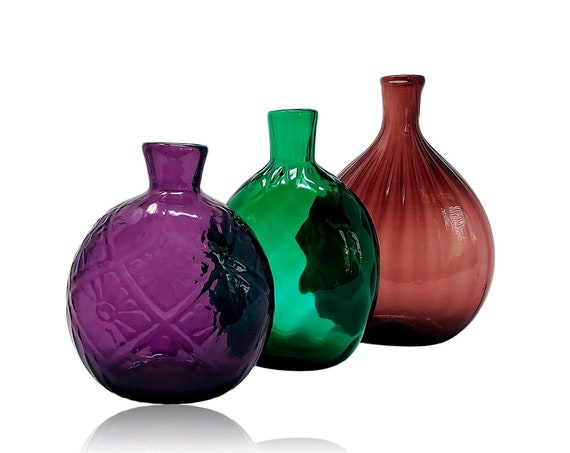 Stunning JEWEL-TONED MMA Replica Handblown Glass Flask Collection