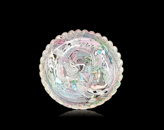 "Large FRATELLI TOSO Zanfirico ""Tutti Frutti"" Latticino Cased Glass Bowl 