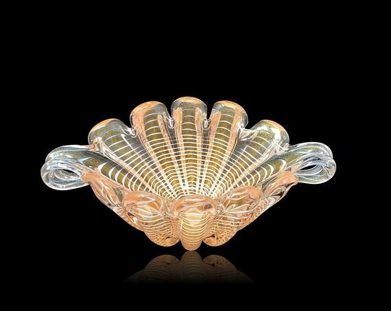 SUBLIME RARE BAROVIER Toso Murano Zebrati Glass Bowl | Trinket Dish | Centerpiece