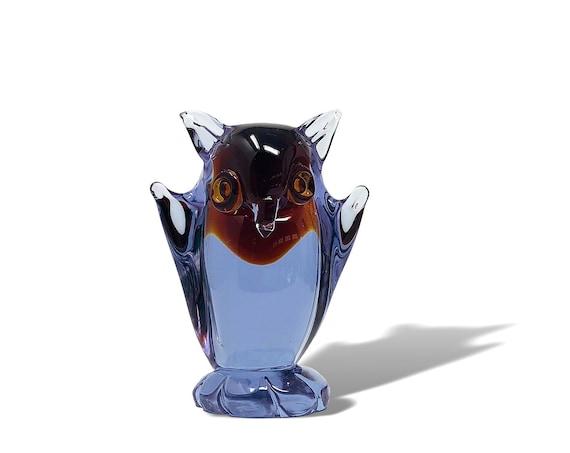 Mid-Century MURANO Neodymium | Alexandrite Glass Owl, Possibly Cenedese - Mint