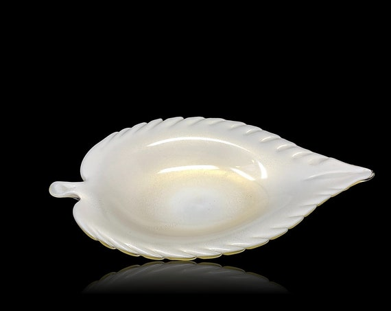 C. 1950s XL BARBINI MURANO Lattimo Gold Aventurine Glass Leaf Bowl | Platter | Centerpiece