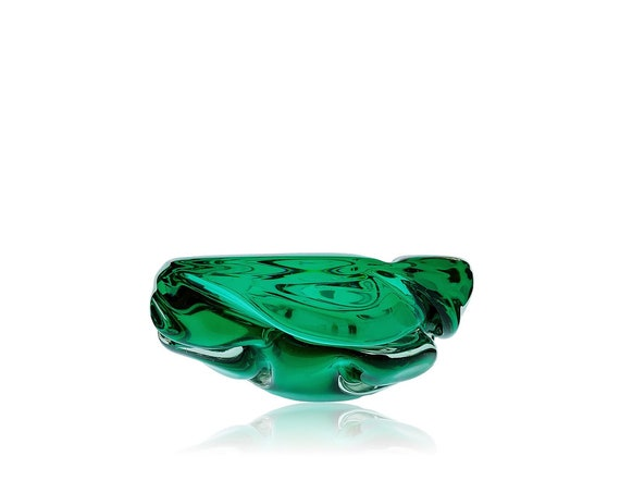 BIG MURANO Archimede SEGUSO Green Sommerso Glass Ashtray | Bowl | Trinket Dish