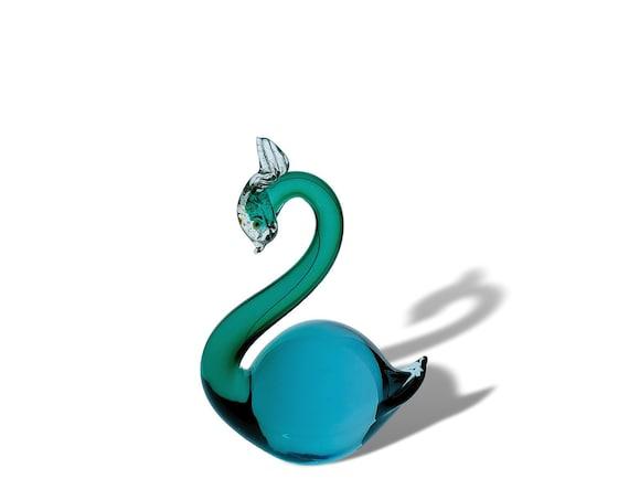 C.1950s MURANO Alfredo BARBINI Sommerso Glass Swan Sculpture
