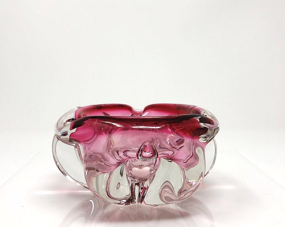 BIG Mid-Century Biomorphic Cranberry Sommerso Glass Bowl | Candy/Trinket Dish | Centerpiece | Ashtray