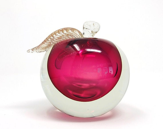 HUGE BARBINI MURANO Cranberry Sommerso Glass Fruit Bookend | Paperweight | Sculpture