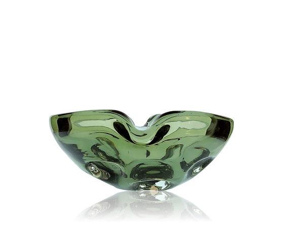 FAB MCM MURANO Biomorphic Dimpled Smoke Glass Ashtray | Bowl | Trinket Dish