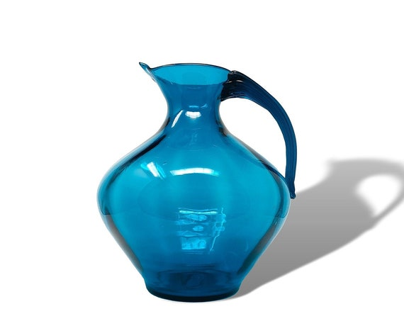 Massive BLENKO Winslow Anderson #963 Optic Glass Pitcher in Dazzling TEAL--MINTY