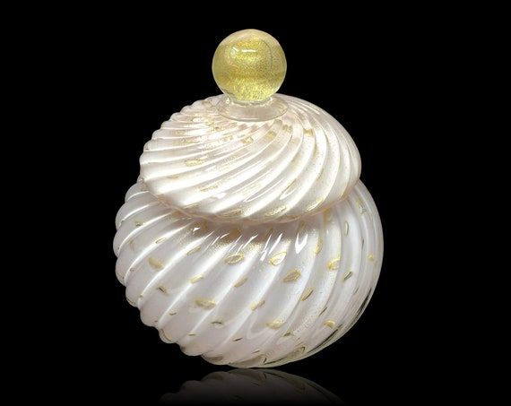 MAGNIFICENT MURANO Alfredo BARBINI Gold Aventurine Lattimo Glass Jar | Covered Bowl | Powder - Mint