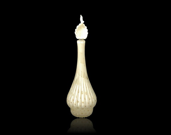 Exquisite BARBINI Murano Lattimo & Gold Bullicante Glass Perfume | Decanter
