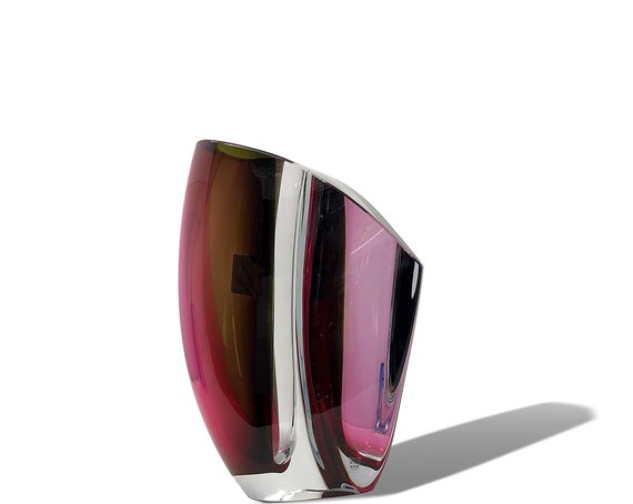 "XL KOSTA BODA ""Mirage"" Series Sommerso Glass Vase by Goran Warff, Signed & Numbered! Mint!"