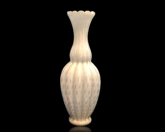 EXQUISITE 1950s Alfredo BARBINI MURANO Lattimo Bullicante Gold Aventurine Glass Vase