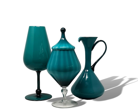 KILLER MCM Italy | Empoli Cased Glass Snifter, Pitcher & Circus Tent Jar Set in Peacock | Teal