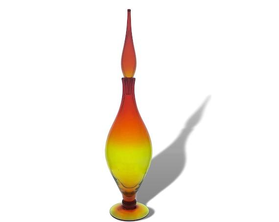 Blenko Joel Myers #6528 Footed Glass Decanter In Sparkling Tangerine