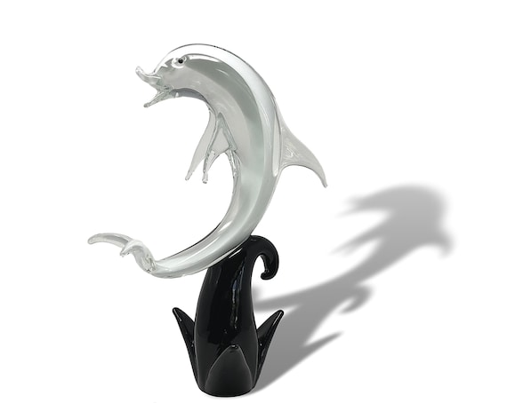 "KILLER 16"" FORMIA MURANO Sommerso Glass Dolphin 