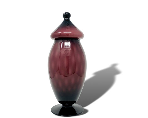 C.1960s BIG EMPOLI AMETHYST Cased Thatched Glass Apothecary Jar | Covered Vase