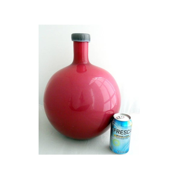 MASSIVE Italian/Empoli Cased Glass Vase/Jug/Decanter, Documented Piece w/Label