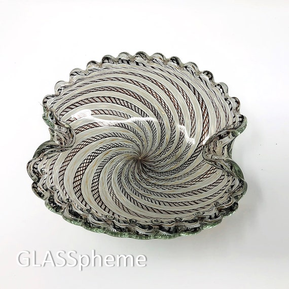 Freeform FRATELLI TOSO Pinwheel Filigrana Cased Glass Bowl | Ashtray | Trinket Dish -- Documented
