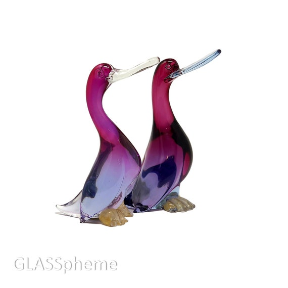 HUGE C.1950s SALVIATI Barbini Murano Sfumato Alexandrite Glass Love Birds | Duck Sculptures | Figurines