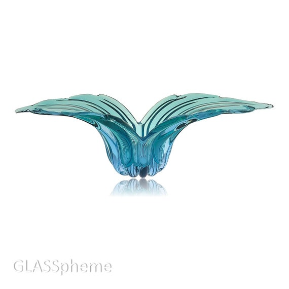 XL Mid-Century Alfredo BARBINI MURANO Sommerso Encased Glass Winged Bowl | Vase | Console | Platter | Centerpiece