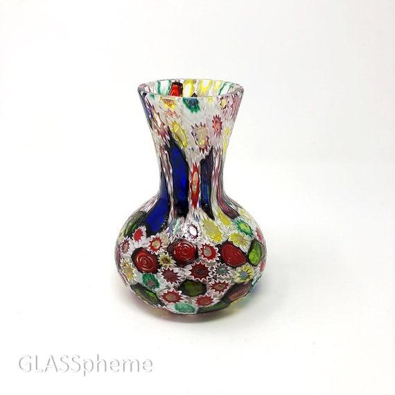 C.1960s FRATELLI TOSO Murano Millefiori Glass Cabinet Vase