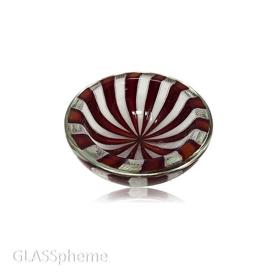 "SUBLIME Mid-Century MURANO Somerso Filigrana Reticello Glass ""PINWHEEL"" Bowl 