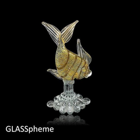 AMAZING C.1950s MURANO A.VE.M (Arte Vetraria Muranese) Glass Fish with Gold Aventurine