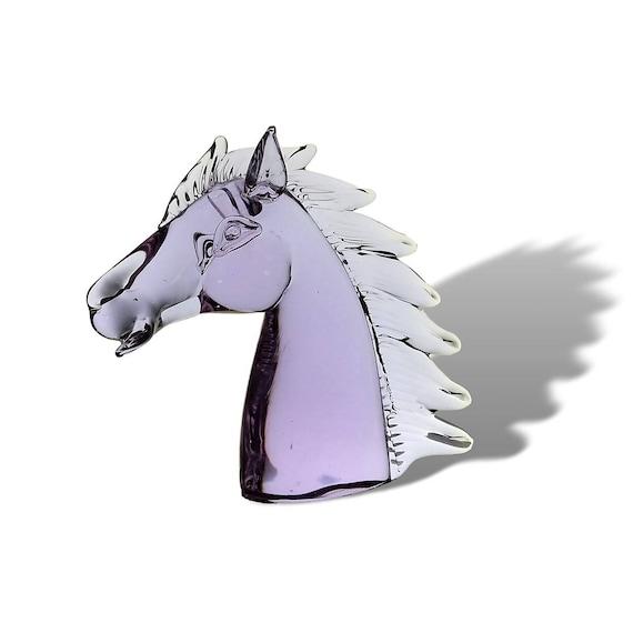 "AMAZING 8"" Lucio ZANETTI ALEXANDRITE   Neodymium Glass Horse Head Statue   Sculpture"
