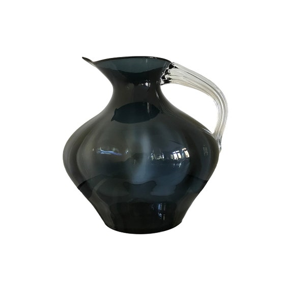 Massive BLENKO Winslow Anderson #963 Optic Glass Pitcher in CHARCOAL--MINT & Ships Free to the U S.