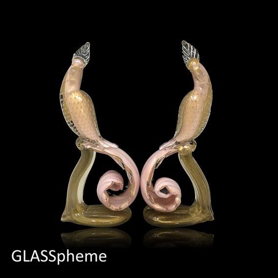 "C.1960s HUGE 17"" Alfredo BARBINI Cased Sommerso Bullicante Pink Gold Glass Birds of Paradise - PRISTINE"