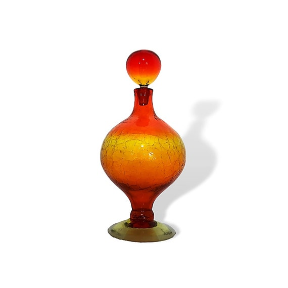 BLENKO HUSTED BIG #6211 Sparkling Crackle Glass Footed Decanter in Tangerine/Amberina