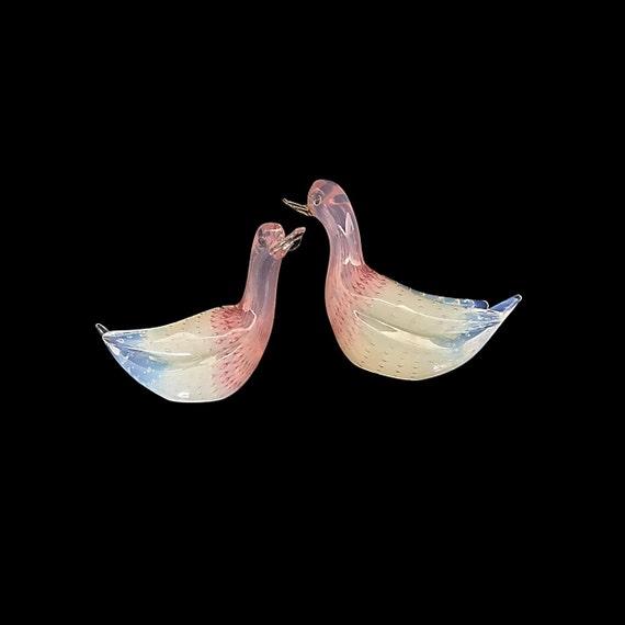 FRATELLI TOSO Murano Opalescent/Opalino Bullicante Glass Love Birds