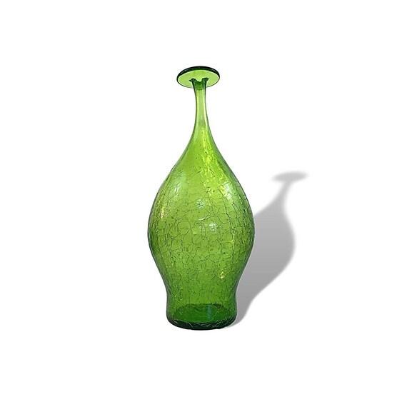 BLENKO Joel Myers #6422 Glass Flat-Topped Vase in Olive Green Crackle