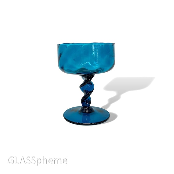 Sparkling Mid-Century Empoli Optic Glass Compote | Tazza | Footed Bowl in Teal